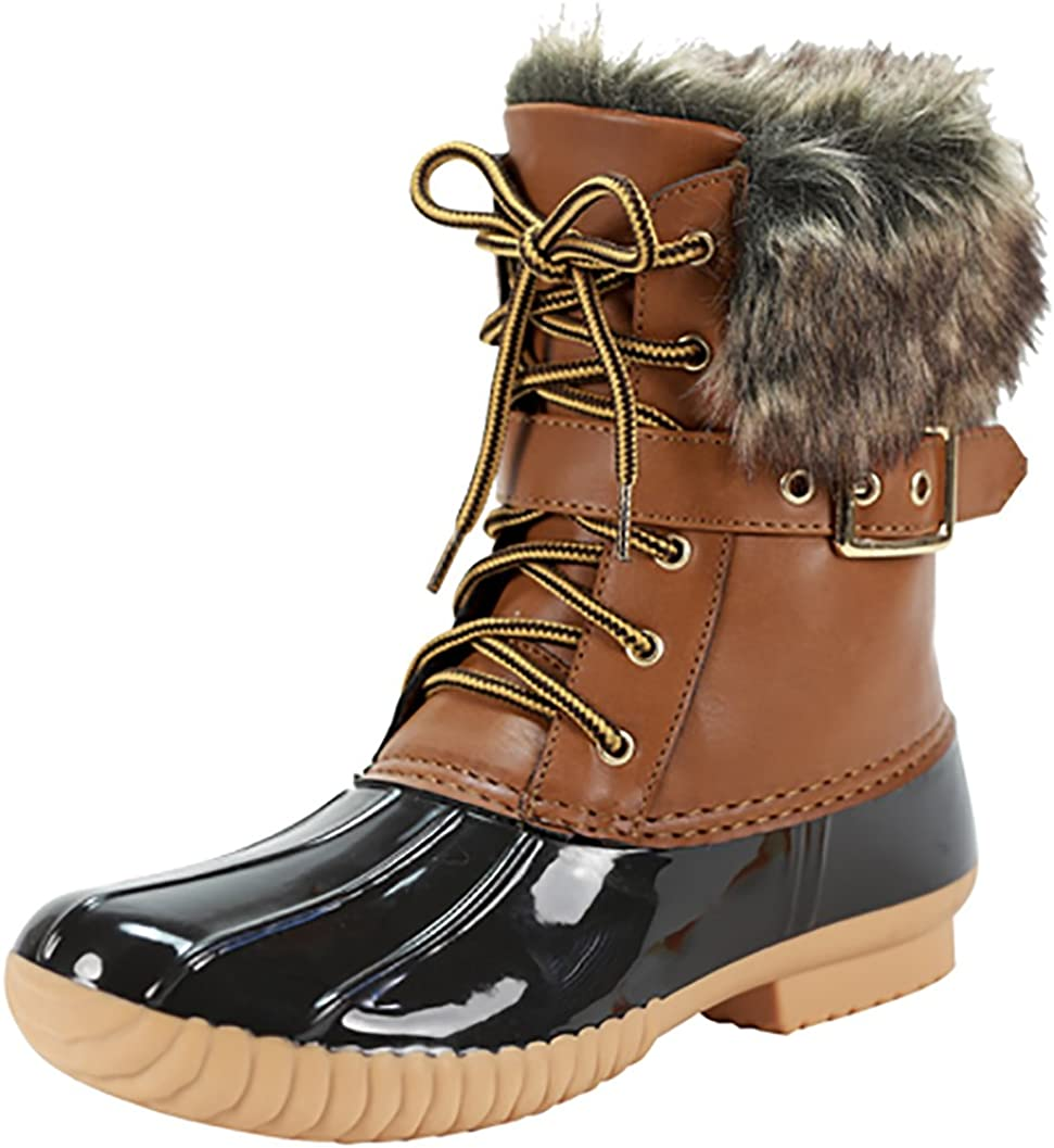 Nature Breeze Duck-01 Women Stitching Lace Up Side Zip Waterproof Insulated Boot