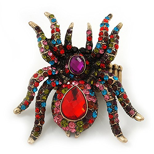 (Avalaya Oversized Multicoloured Swarovski Crystal Spider Stretch Cocktail Ring in Antique Gold Plating)