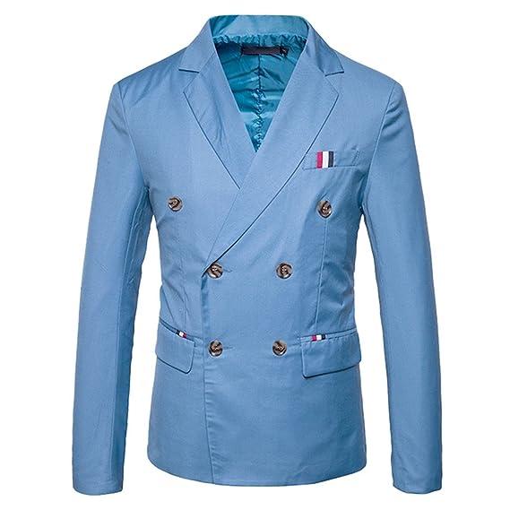 Giacca da Uomo a Doppio Petto Casual da Uomo Giacca da Sera a Bottone  Solido  Amazon.it  Abbigliamento 7cfa65206f0