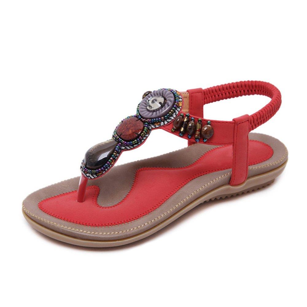 PDFGO Frauen Bohemian Style Sandalen Sommer Strass Bead Folk Flip-Flops Clip Toe T-Strap Knöchelriemen Reise Strand Schuhe  EU39/UK6|Red