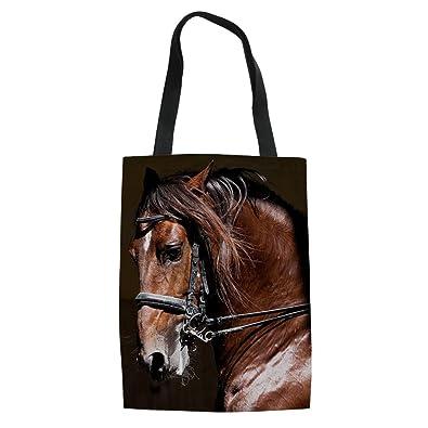 f714d4fee894 HUGS IDEA Shiny Horse Print Canvas Tote Bag Fashion Women's Top ...