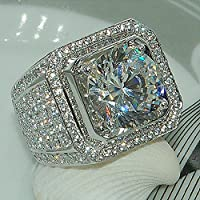 A.Yupha 18K White Gold Iced Out BAND HipHop Engagement MICROPAVE CZ Pinky Men Women Ring (8)