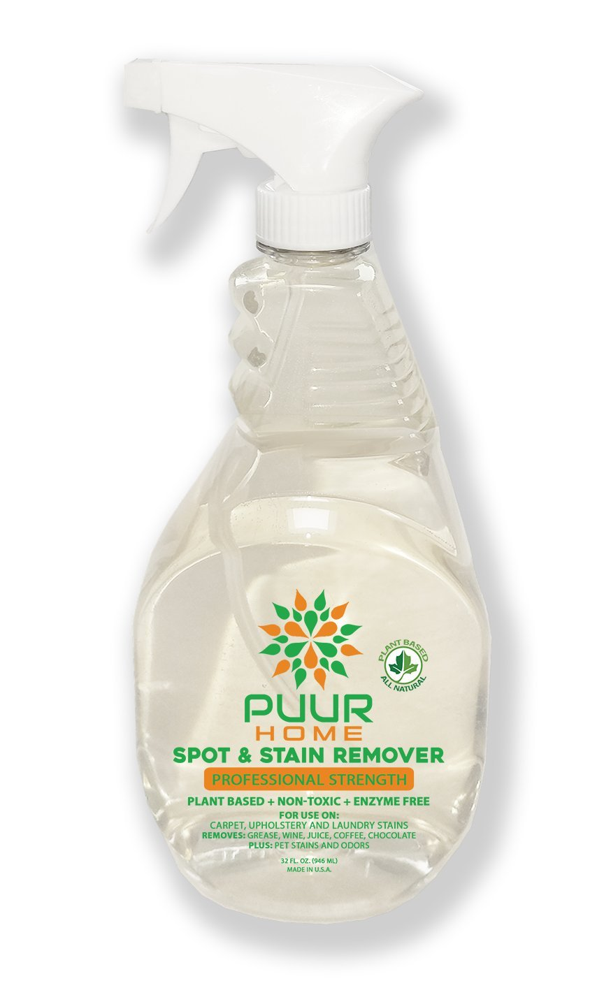 PUUR Home Natural Stain Remover 32 oz Spray - Laundry Spot and Odor Remover, Safe on All Fabrics - Biodegradable - Non Toxic - Child and Pet Safe