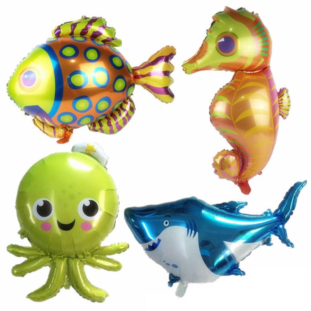 38inch Cartoon Sea Horse Balloon//Octopus Balloon//Shark Balloon//Tropical Fish Balloons for Kid Birthday Party Decorations AN0063 AnnoDeel 4 pcs Large Sea Animal Balloons