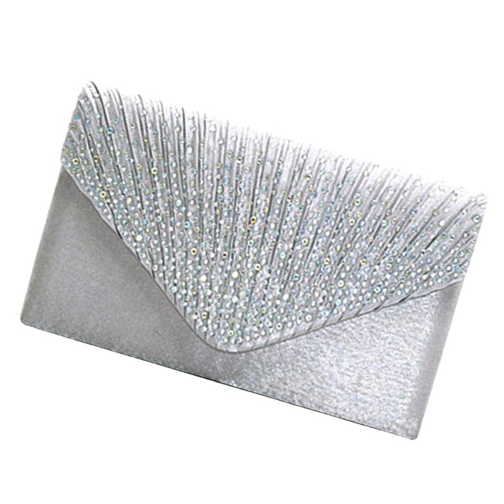 Argent Snner Satin Pochette Mariage Soir/ée Sac /à Main Bandouliere Chaine Diamant Bal Sac /à Main