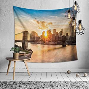 jecycleus New York Boho Tapestry Wall Hanging Cityscape of Brooklyn Bridge and Manhattan Hudson River Center of Culture Photo Trippy Tapestry Wall Decor W70.5 x L59 Inch Multicolor