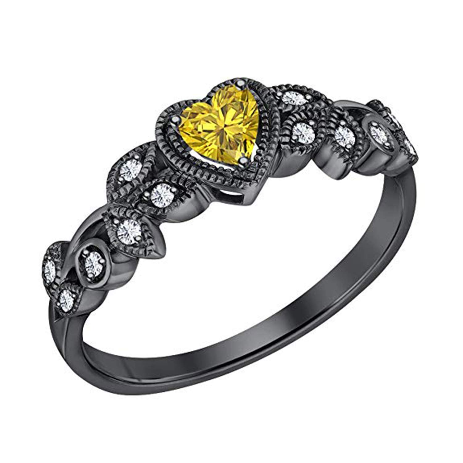 14K Black Gold Plated Fn Simulated Diamond /& Yellow Sapphire Studded Wedding /& Engagement Ring Jewelry