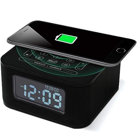 NBWS Radio de Reloj Despertador de Altavoz Bluetooth inalámbrico iPhone de Carga, Dormitorio, Cargador