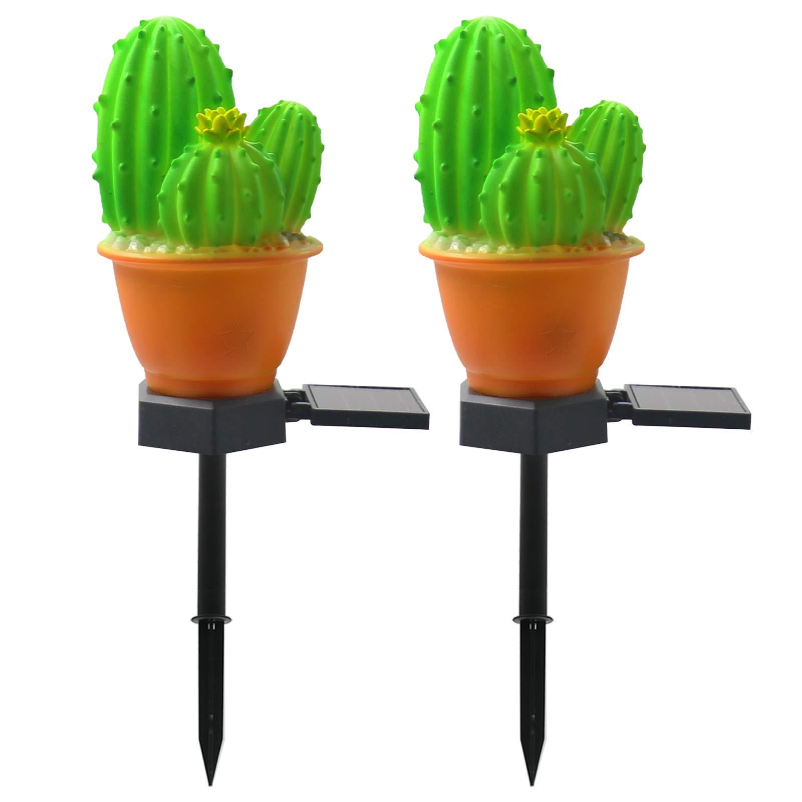 VGYVGYCC Garden Decor Solar Lights Outdoor – 2 Pack Cactus Stake Waterproof