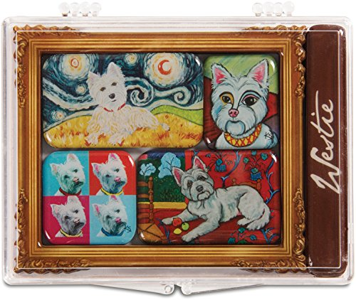 Pavilion Gift Company 12008 Paw Palettes 6-Piece Mini Masterpiece Magnet Set, 4 by 3-1/2-Inch, West Highland - West Magnet Highland Terrier