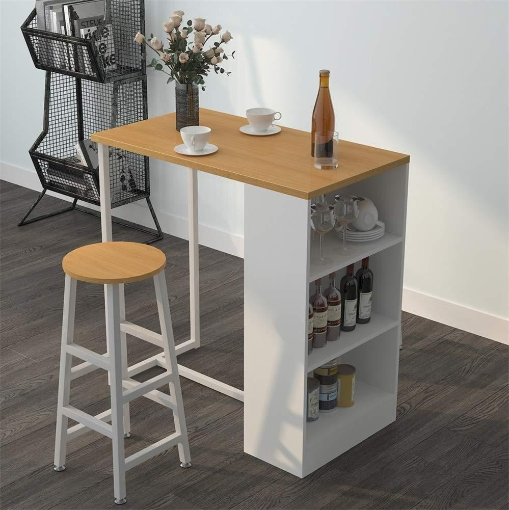 Mesa de caf/é con Marco de Metal Blanco y Estante de Almacenamiento de 3 Niveles para Estante de Bebidas sogesfurniture Mesa de Bar de Cocina Mesa de Desayuno BHEU-GCBG1022