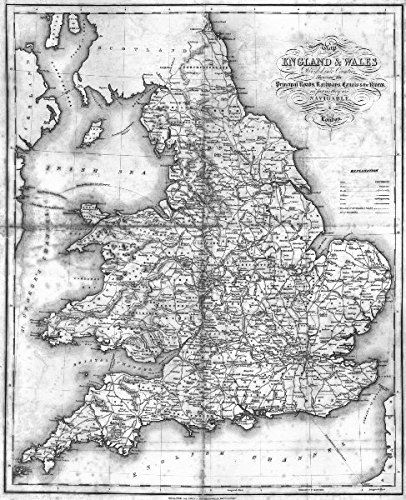 Map Of Uk Rivers And Canals.Amazon Com England Wales Roads Rail Canals Rivers Lewis 1831