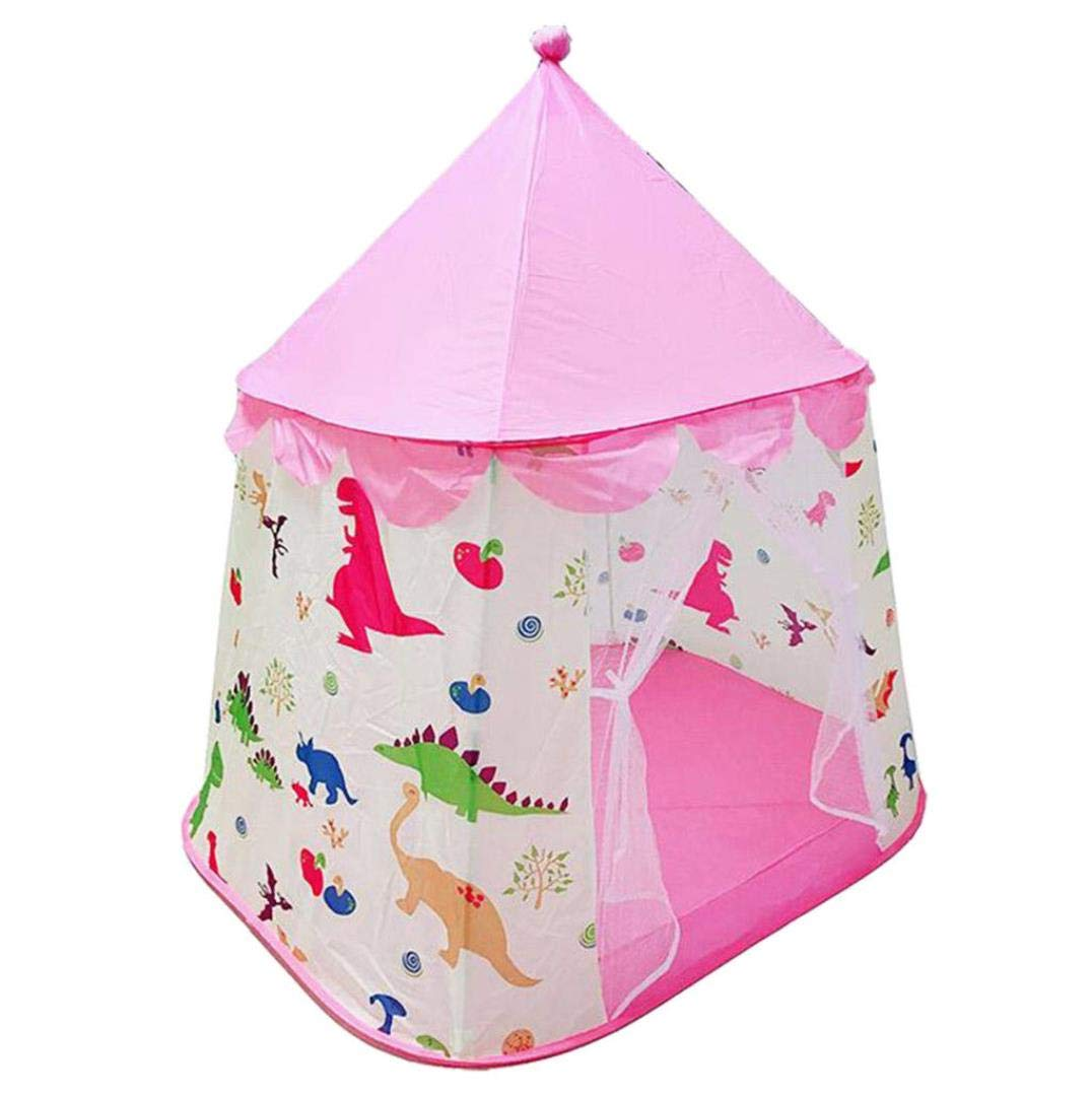 Playhouse for Kids Pink Dinosaur Themed Tent Foldable Pop Up Castle Tent Indoor Outdoor Cartton Animal Play Tent For Girls//Boys//Infant Pink