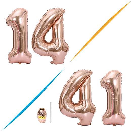 Huture 2 Globos Número 14 Figuras Globo Inflable de Helio ...