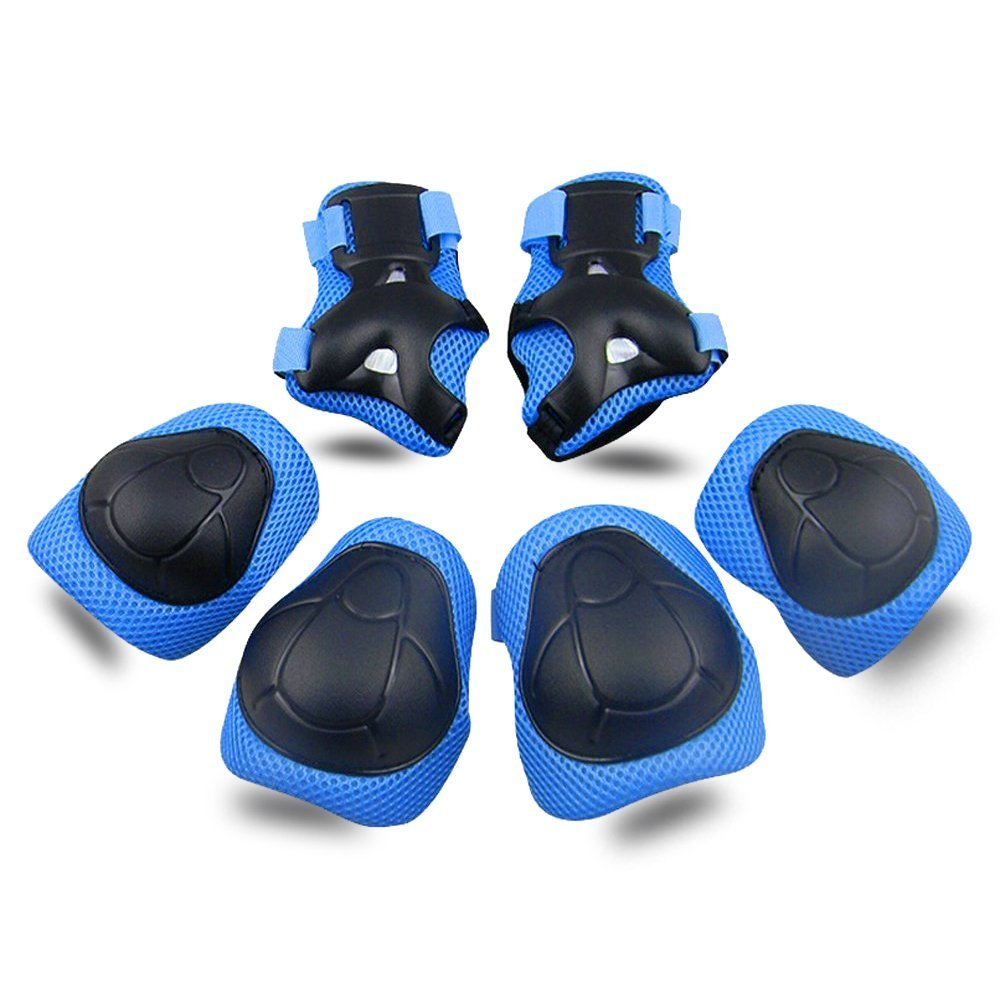 Kids Protective Gear SKL Knee Pads Kids Knee Elbow Pads Wrist Guards 3 in 1 Skating Cycling Bike Rollerblading Scooter (Blue, [Upgraded Vistion 3.0])