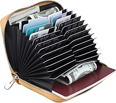 Boshiho RFID Blocking 24 Slot Credit Card Holder Wallet Real Leather Multi Card