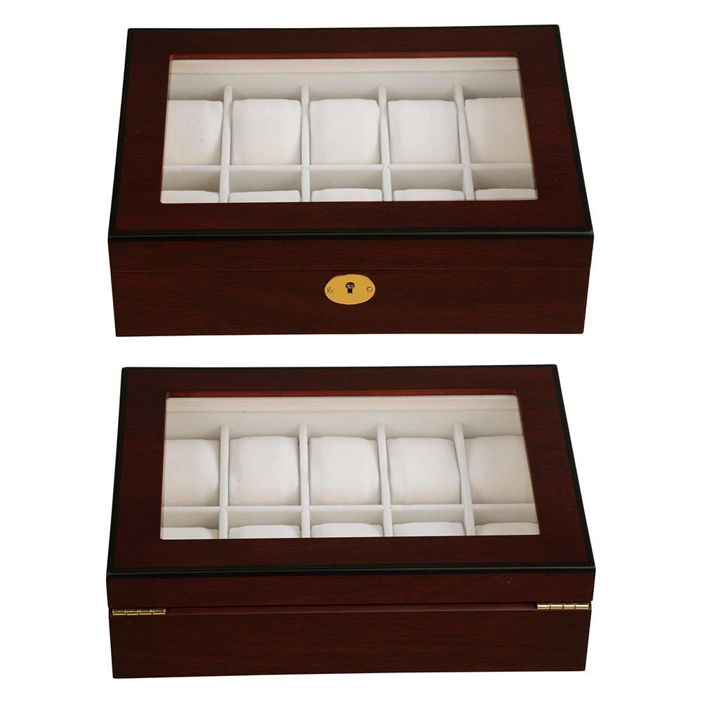 Amazoncom Yescom 10 Slot Wood Watch Display Case Glass Top Jewelry