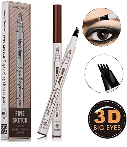 Lápiz de tatuaje para cejas, con 4 puntas, color marrón, para ...