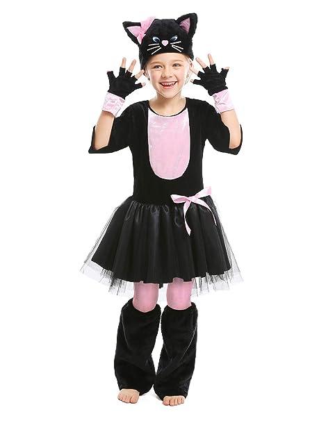 Amazon.com: Disfraz de gato de Halloween para niña de ...