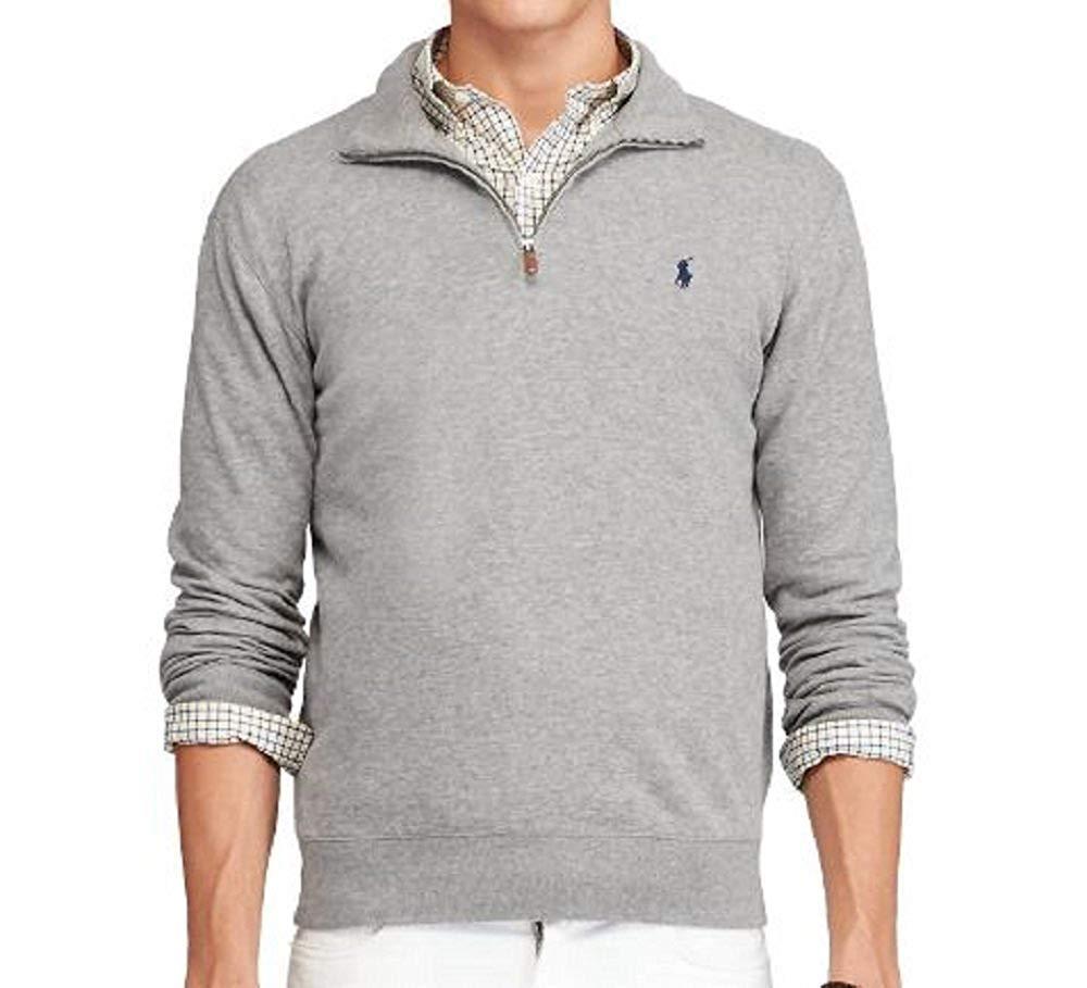 Polo Ralph Lauren Men's Half Zip French Rib Cotton Sweater (Medium, Grey Heather/Navy Pony)