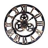 Soledi European Retro Vintage Handmade 3D Decorative Gear Wooden Vintage Wall Clock (Copper Color)