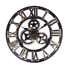 Soledi European Retro Vintage Handmade 3D Decorative Gear Wooden Vintage Wall Clock (Copper Color)