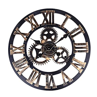 Soledi Vintage Clock European Retro Vintage Handmade 3D Decorative Gear Wooden Vintage Wall Clock (Copper Color)