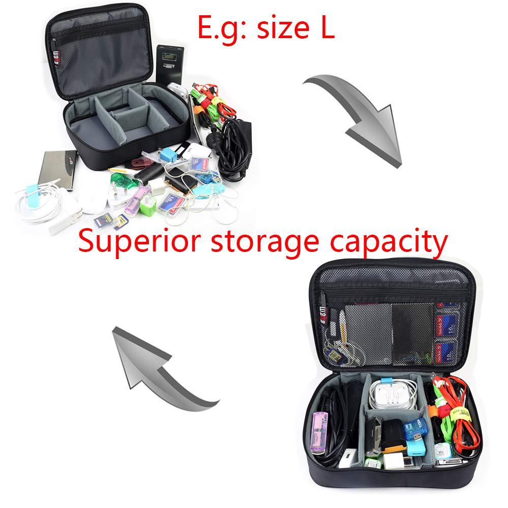 BUBM 4pcs/Set Travel Electronic Organizer Gadgets Electronics Accessories Storage Bag for Memory Card USB Battery Power Bank Flash Hard Drive Safe Space Cord Organizer(Black) by BUBM (Image #2)
