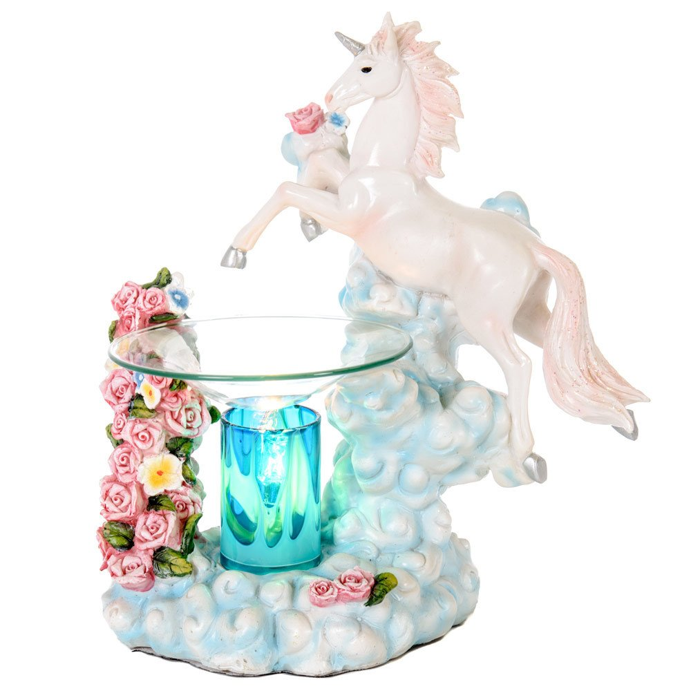 Unicorn Poly Resin Electric Oil Warmer - Scented Aromatherapy Lamp Warmer - Glass Dish and PolyResin Oils Burner Kit Set - Fragrance Diffuser - Colorful Stand
