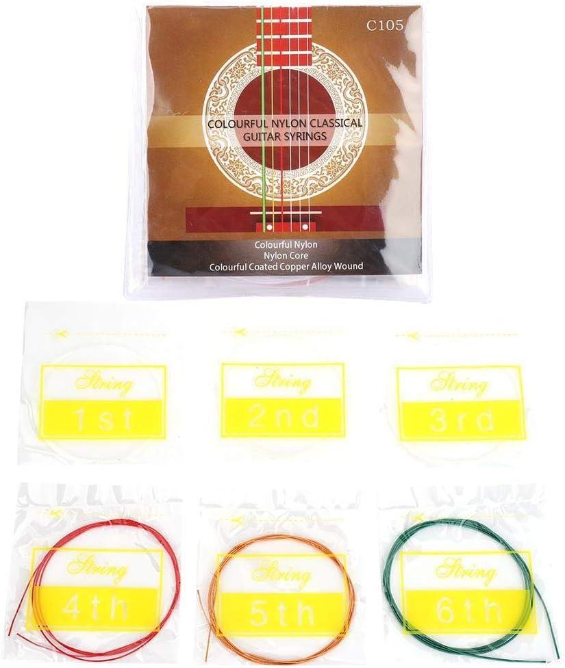 Alomejor Color Guitar String 6pcs/Set Nylon Cuerdas Clásicas Tensión Estándar para Reemplazo de Guitarra Acústica