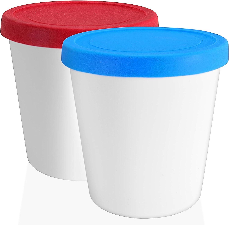 Recipientes con tapas Recipientes conservaci/ón de helados 1L juego de 2 Contenedor para helado