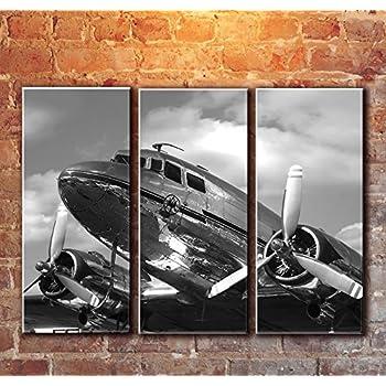 Amazon Com 3 Panel Dc 3 Dakota Airplane Canvas Art