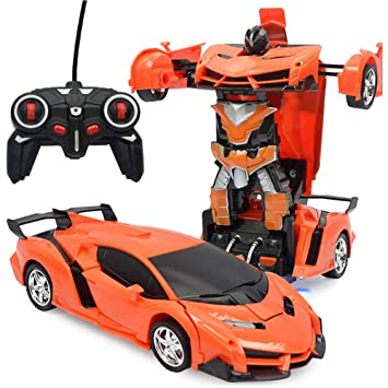 BonZeaL 2 In 1 RC Orange Deformation Robot Car Toy Birthday Gifts For Boys 6 7