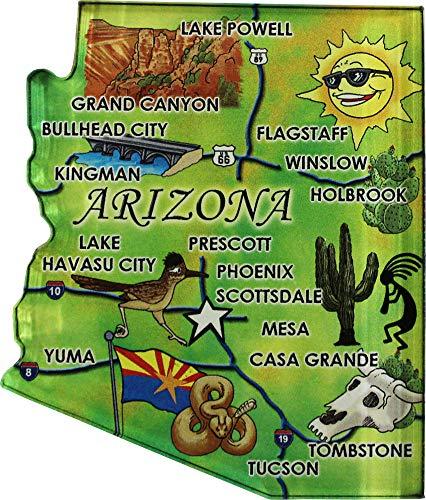 Flagline Arizona - Acrylic State Map Refrigerator Magnet
