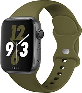 Acrbiutu Bands Compatible with Apple Watch 38mm 40mm 42mm 44mm, Replacement Soft Silicone Sport Strap for iWatch SE Series 6/5/4/3/2/1 Women Men, Olive Green 38mm/40mm S/M