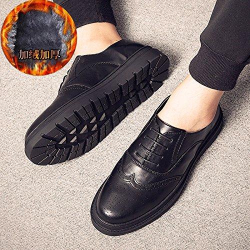 casual plus GUNAINDMX summer velvet wild Men's shoes shoes Black shoes spring warm leather UYwvqRYr6