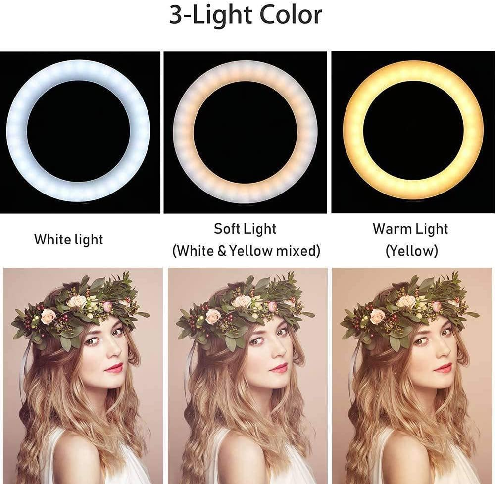 YIDADIAN Dimmable LED Ring Light 3-Colors USB Rechargeable Streaming Light Selfie Lamp with Stand for Vlogging YouTube Video Shooting Make-up Selfie Photography