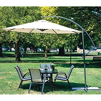 New Deluxe 10u0027 Offset Outdoor Patio Umbrella Gazebo   Beige