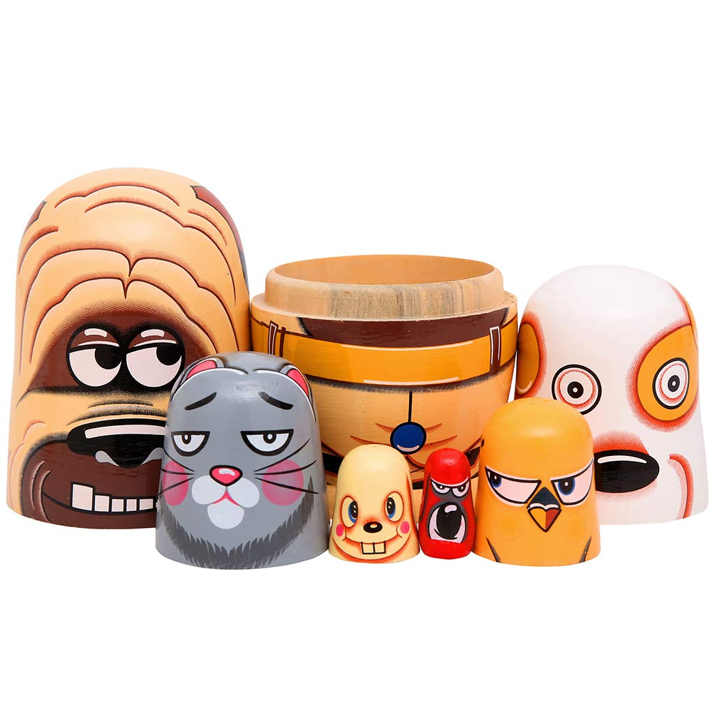 Moonmo 6pcs Handmade Wooden Russian Nesting Dolls Russian Nesting Dolls Cute Dogs Matryoshka Dolls. by Moonmo (Image #3)