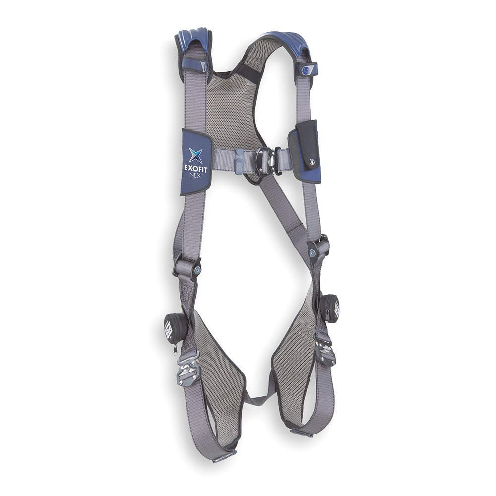 3M DBI-SALA ExoFit NEX 1113007 Vest Style Harness, Aluminum Back D-Ring, Locking Quick Connect Buckles, Large, Blue/Gray by 3M Fall Protection Business B0068ZYSDQ