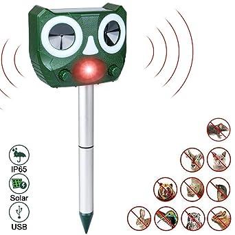 Aottom Repelente de Gatos Repelente Ultrasónico Ahuyentador de Pajaros Impermeable USB y Solar Utilizada en el Jardín Repelente Gatos Jardín Ahuyentador Gatos Animales Ratones Perroas Pájaros: Amazon.es: Industria, empresas y ciencia