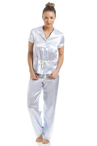 Camille - Conjunto de pijama satinado para mujer - Camisa de manga corta con cinturón -