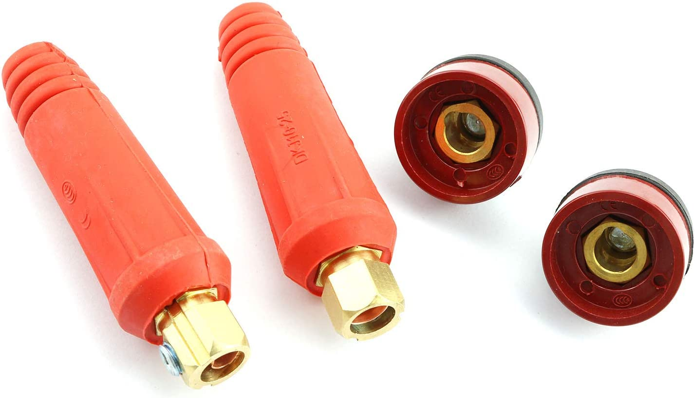 TIG Welding Cable Panel Connector Socket Set DKJ10-25 /& DKZ10-25 Quick Fitting Dinse-Style with Red Color 4pcs