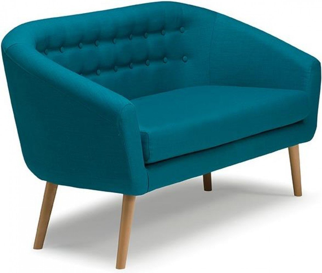 Molly 2 Seater Deep Seat Cushion Sofa Couch Settee Teal | Fabric/Wooden  Legs: Amazon.co.uk: Kitchen U0026 Home