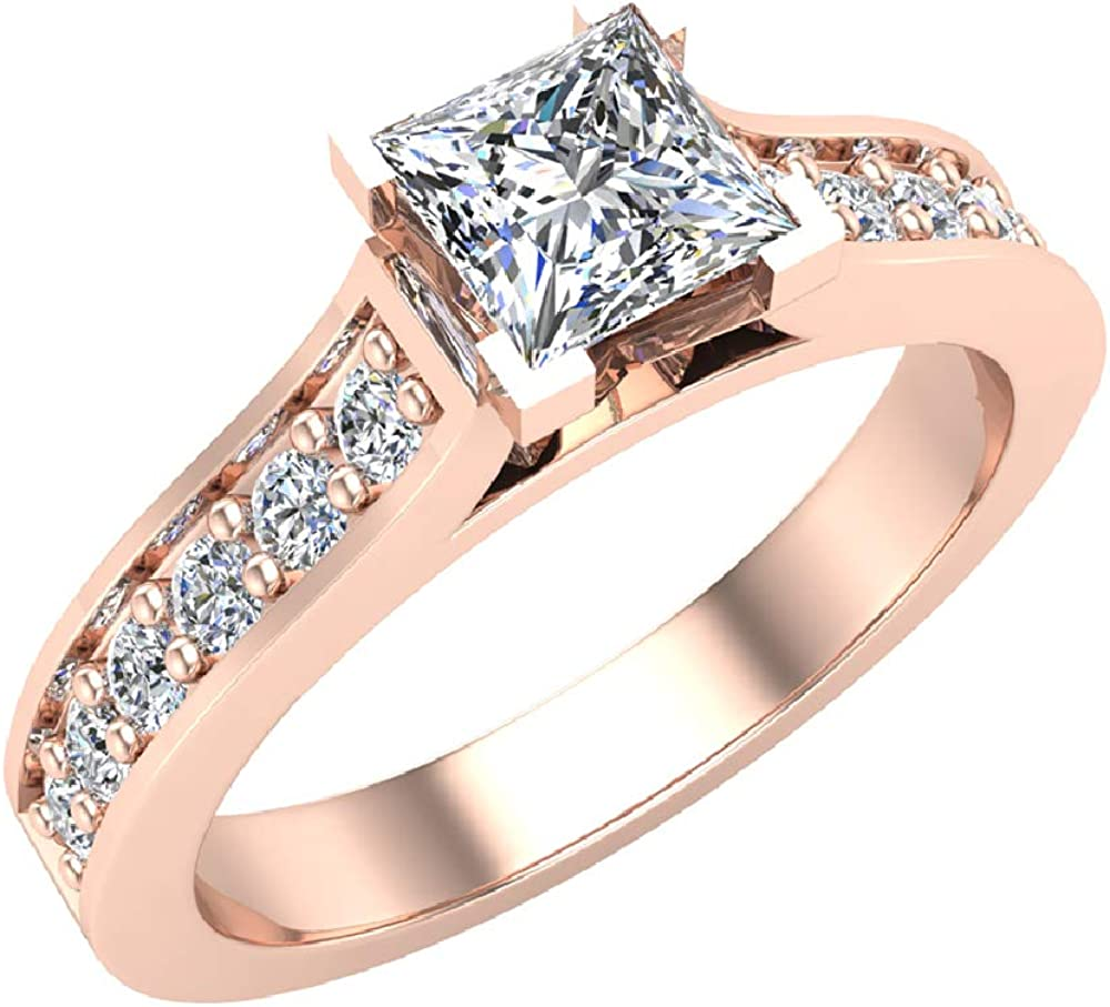 Engagement Rings Princess Cut Diamond Rings For Women 14k Gold 3 4 Carat T W G Vs Amazon Com