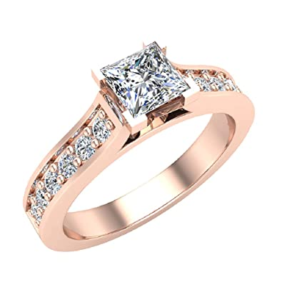 Princess Cut Engagement Ring 3 4 Carat Total Weight Diamond Accented Shank  14K Gold (G c1eb65247ffc