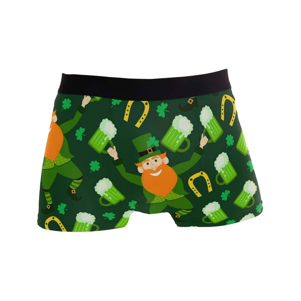 CATSDER Happy St Patricks Day Leprechauns Beer Boxer Briefs Mens Underwear Pack Seamless Comfort Soft