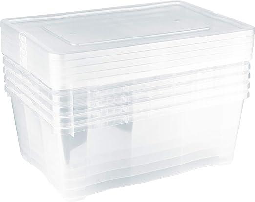 Grizzly 5 x Caja de Almacenaje con Tapa de 10 L - Cajón de Plástico Transparente Apilable - Caja Multiusos Organizador de Armarios para Ordenación de Ropa: Amazon.es: Bricolaje y herramientas