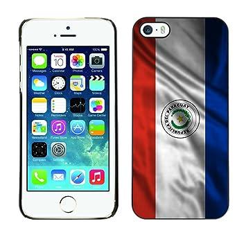 FJCases Paraguay Paraguayo Bandera Ondeante Carcasa Funda Rigida para Apple iPhone 5 / 5S / SE