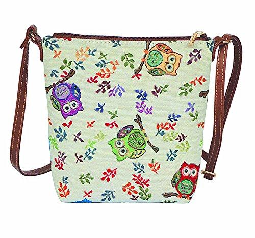 Owl Small Cross Body Bag for Women/Sling Crossbody bag by Signare Tapestry / (SLING -OWL)